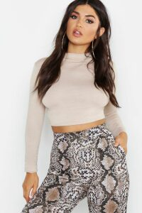 Womens Basic Funnel Neck Long Sleeve Crop Top - beige - 10, Beige