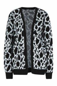 Womens Leopard Print Longline Cardigan - grey - M, Grey