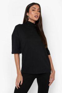 Womens Basic Oversized High Neck 3/4 Sleeve T-Shirt - Black - 16, Black