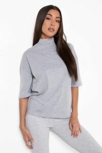 Womens Basic Oversized High Neck 3/4 Sleeve T-Shirt - Grey - 14, Grey