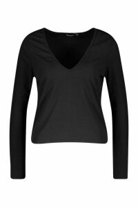 Womens Basic Rib Deep Plunge Long Sleeve T-Shirt - black - 14, Black
