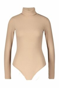 Womens Jumbo Rib Roll Neck Body - beige - 16, Beige