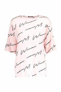 Womens Woman Script Tee - Beige - 18-20, Beige