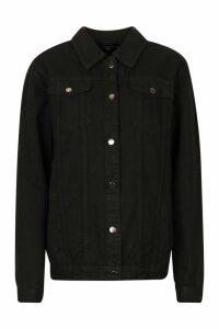 Womens Tall Oversized Denim Jacket - black - 16, Black