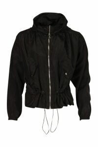 Womens Hooded Synch Waist Windbreaker - black - M/L, Black