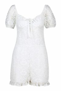 Womens Lace Puff Sleeve Sweetheart Playsuit - white - 14, White