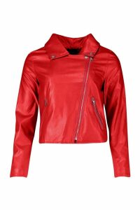 Womens Faux Leather Zip Biker Jacket - red - 12, Red