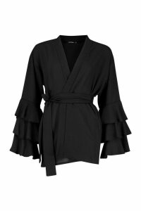Womens Ruffle Sleeve Kimono - black - M, Black