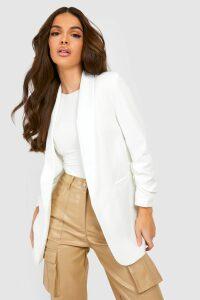 Womens Ruched Sleeve Blazer - white - M, White