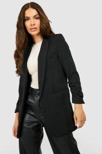 Womens Ruched Sleeve Blazer - Black - S, Black