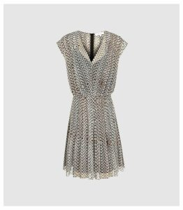 Reiss Marcy - Printed Day Dress in Neutral, Womens, Size 18