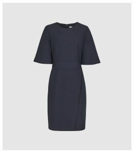Reiss Myra - Tailored Wrap Front Dress in Navy, Womens, Size 16