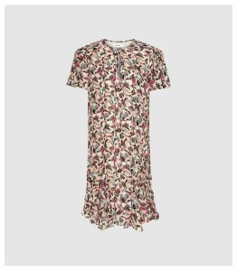 Reiss Stina - Floral Printed Day Dress in Pink/white, Womens, Size 16