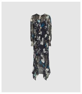 Reiss Carina - Floral Printed Midi Dress in Navy, Womens, Size 18