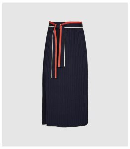 Reiss Mia - Knitted Knife Pleated Skirt in Navy, Womens, Size XXL