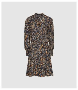 Reiss Lilia - Feather Printed Mini Dress in Navy, Womens, Size 16