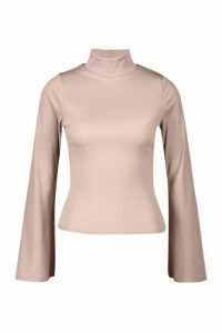 Womens Rib roll/polo neck Flare Sleeve Top - beige - 12, Beige