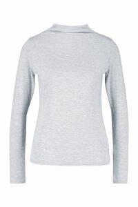 Womens Basic Funnel Neck Long Sleeve Top - Grey - 8, Grey