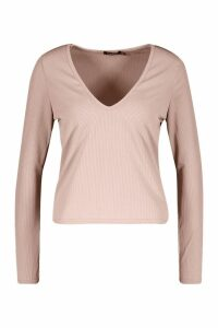 Womens Basic Rib Deep Plunge Long Sleeve T-Shirt - beige - 14, Beige