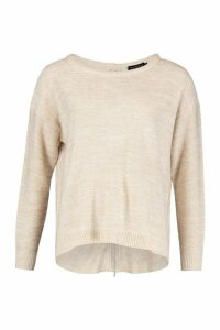 Womens Zip Back Oversized Jumper - Beige - Xs, Beige