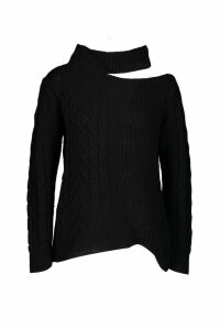 Womens Cable Knit Cut Out Shoulder Jumper - black - M/L, Black