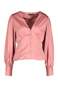 Womens Satin Button Through Blouse - Pink - L, Pink