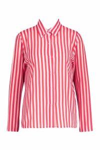 Womens Woven Stripe Shirt - Pink - 10, Pink