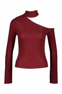 Womens Rib Cut Shoulder roll/polo neck Top - red - 6, Red