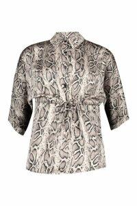 Womens Woven Snake Draw Cord Shirt - beige - 6, Beige