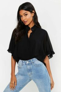 Womens Woven Ruffle angel Sleeve Blouse - black - 16, Black