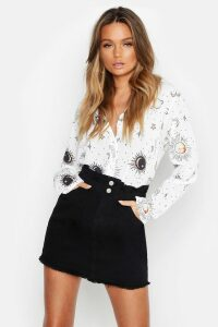Womens Woven Star + Moon Print Shirt - white - 16, White