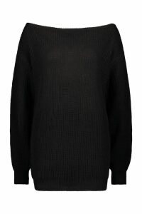 Womens Slash Neck Fisherman Jumper - black - L, Black