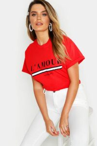 Womens L'Amour Slogan T-Shirt - Red - Xs, Red