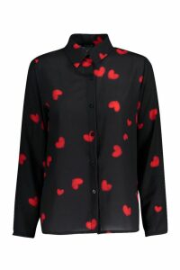 Womens Woven Heart Print Shirt - black - 14, Black