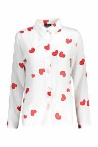 Womens Woven Heart Print Shirt - white - 12, White
