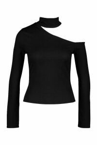 Womens Rib Cut Shoulder roll/polo neck Top - black - 12, Black