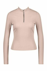 Womens Half Zip Rib Long Sleeve Top - beige - 8, Beige