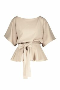 Womens Slash Neck Tie Waist Peplum Hem Top - beige - 14, Beige