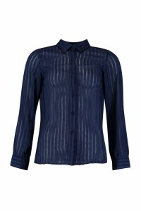 Womens Woven Burnt Out Stripe Shirt - navy - 10, Navy