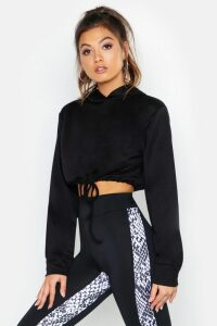 Womens Fit Cropped Hoodie - black - 14, Black