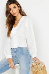 Womens Woven Waist Detail Blouse - White - 14, White