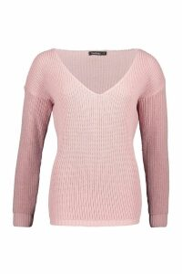 Womens Oversized V Neck Jumper - Pink - M, Pink