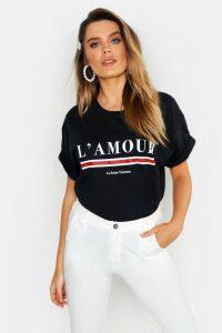 Womens L'amour Slogan T-Shirt - black - XXL, Black