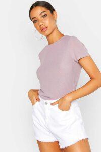 Womens Rib Crew Neck Basic T-Shirt - Grey - 6, Grey
