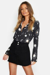 Womens Woven Star + Moon Print Shirt - black - 14, Black