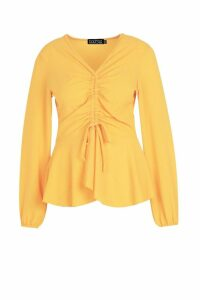 Womens Plus Woven Ruched Front Peplum Smock Top - yellow - 22, Yellow