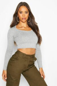 Womens Basic Long Sleeve Crop Top - grey - 10, Grey