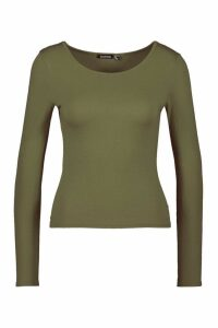 Womens Basic Round Neck Long Sleeve Top - Green - 12, Green