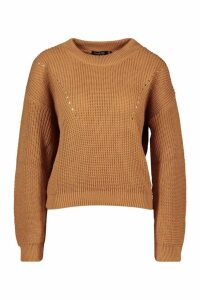 Womens Open Knit roll/polo neck Jumper - beige - L, Beige