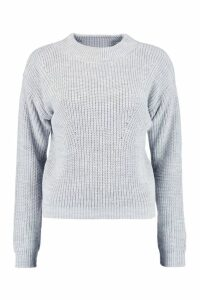 Womens Open Knit roll/polo neck Jumper - grey - S, Grey